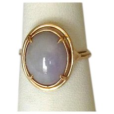 14K Ladies' Ring with Lavender Jade Cabochon Stone