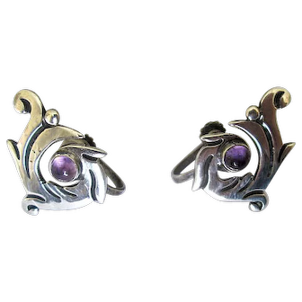 """Mexican Sterling """"Maricela"""" Screw-Back Earrings with Amethysts"""