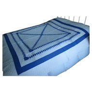 "Vintage Blue & White ""Wild Goose Chase"" Patchwork Quilt"