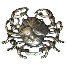Cini Sterling Zodiac Cancer the Crab Pin