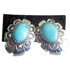 Native American Sterling & Turquoise Post Pierced Earrings
