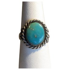 Vintage Native American Silver & Turquoise Ring