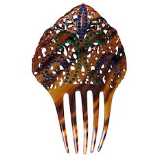 Vintage Fancy Celluloid Hair Comb with Colored Rhinestones