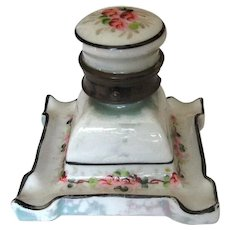 Vintage Hand-Painted Brass & Ceramic Inkwell