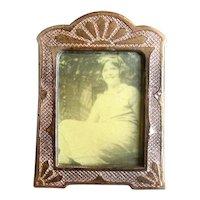 Tiny Vintage Brass & Enamel Tabletop Picture Frame