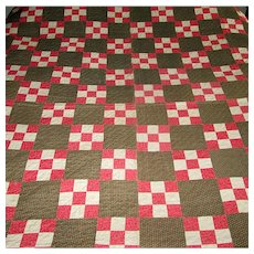"Vintage Victorian Hand-Made ""Nine-Patch"" Quilt"