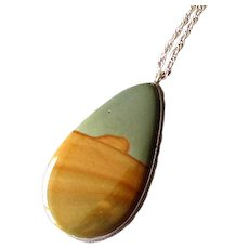 Sterling Silver Picture Jasper Pendant Necklace
