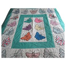 "Vintage Applique ""Butterfly"" Quilt with Black Embroidery"