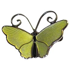 D-A David Andersen of Norway Yellow Enamel Butterfly Pin