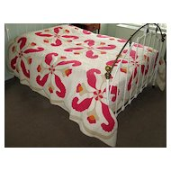 """Red, Yellow, and Taupe """"Princess Feather"""" Applique Quilt"""
