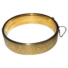 Gold-Filled Bangle Bracelet with Floral Design