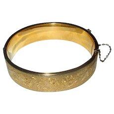 Gold-Filled Bangle Bracelet with Floral Design
