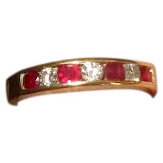 14K Band Ring with Rubies and Diamonds