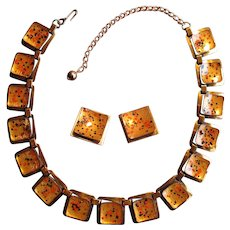 Copper & Enamel Matisse Necklace with Clip Earrings