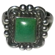 Ladies' Navaho Silver and Green Turquoise Ring