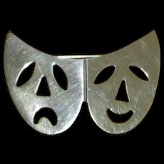 Mexican Sterling Comedy-Tragedy Mask Pin