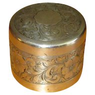 Large Engraved Sterling Silver Pillbox