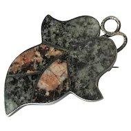 Antique Scottish Pin with Inlaid Aberdeen Granite