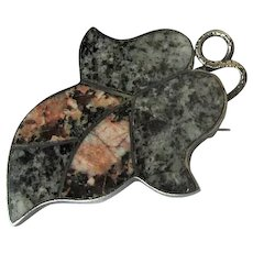 Antique Scottish Pin with Inlaid Aberdeen Granite
