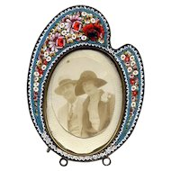 Italian Mosaic Palette-Shaped Table-Top Picture Frame