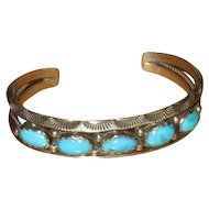 Signed Native American Silver and Turquoise Cuff Bracelet