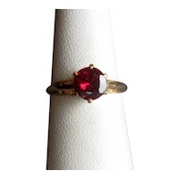 10K Ladies' Ring with Solitaire Garnet