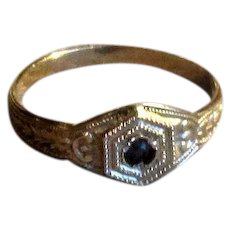 White Gold Baby Ring with Sapphire