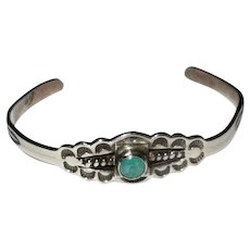Child's Size Navaho Silver and Turquoise Cuff Bracelet
