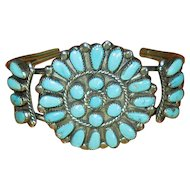 Native American Zuni Sterling & Turquoise Needlepoint Cuff Bracelet