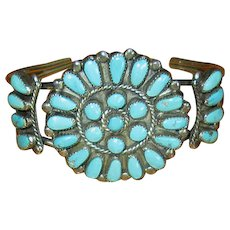 Native American Zuni Sterling & Turquoise Needlepoint Cuff Bracelet
