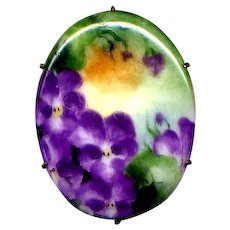 Hand-Decorated Ceramic Pin with Violets