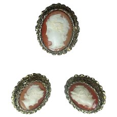 Silver-Gilt Cameo Ring & Earring Set