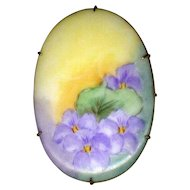 Large Hand-Decorated Ceramic Pin with Violets