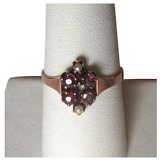 10K Rose Gold Victorian Ladies' Ring with Amethysts and Pearls