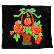 Vintage Velvet Pillow Front with Hand-Hooked Chenille Flower Basket