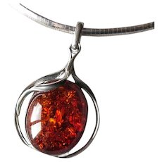 Sterling Silver & Amber Pendant Necklace
