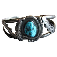 Native American Navaho Silver Cuff with Turquoise