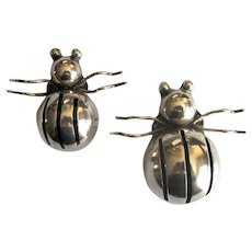 Pair of Vintage Mexican Silver Bug Pins