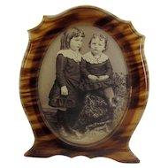 Vintage Faux-Tortoise Celluloid Tabletop Picture Frame