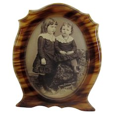 Vintage Faux-Tortoise Celluloid Tabletop Picture Frame