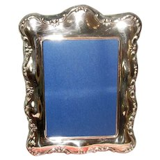 English Tabletop Picture Frame with Silver-Plate Front