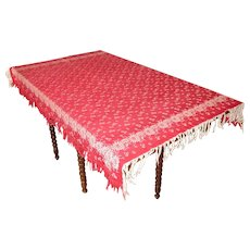 Victorian Woven Fringed Floral Tablecloth In Turkey Red