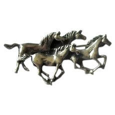 "Sterling Silver ""Four Horses"" Pin"