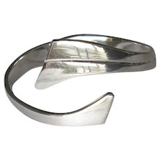 Modernist Mexican Sterling Hinged Cuff Bracelet