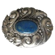 Vintage 800 Silver Brooch with Lapis Lazuli Stone