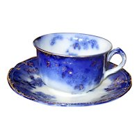 "English Flow Blue ""Lugano"" Teacup with Saucer"