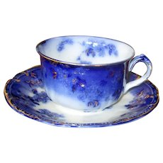"""English Flow Blue """"Lugano"""" Teacup with Saucer"""