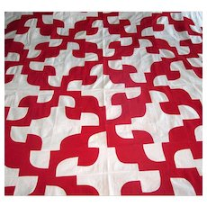 "Vintage Red & White ""Drunkard's Path"" Quilt Top"