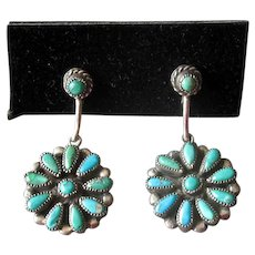 Sterling Silver Native American Zuni Turquoise Drop Earrings
