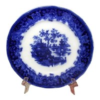 "English Flow Blue Pottery ""Shanghai"" Plate"
